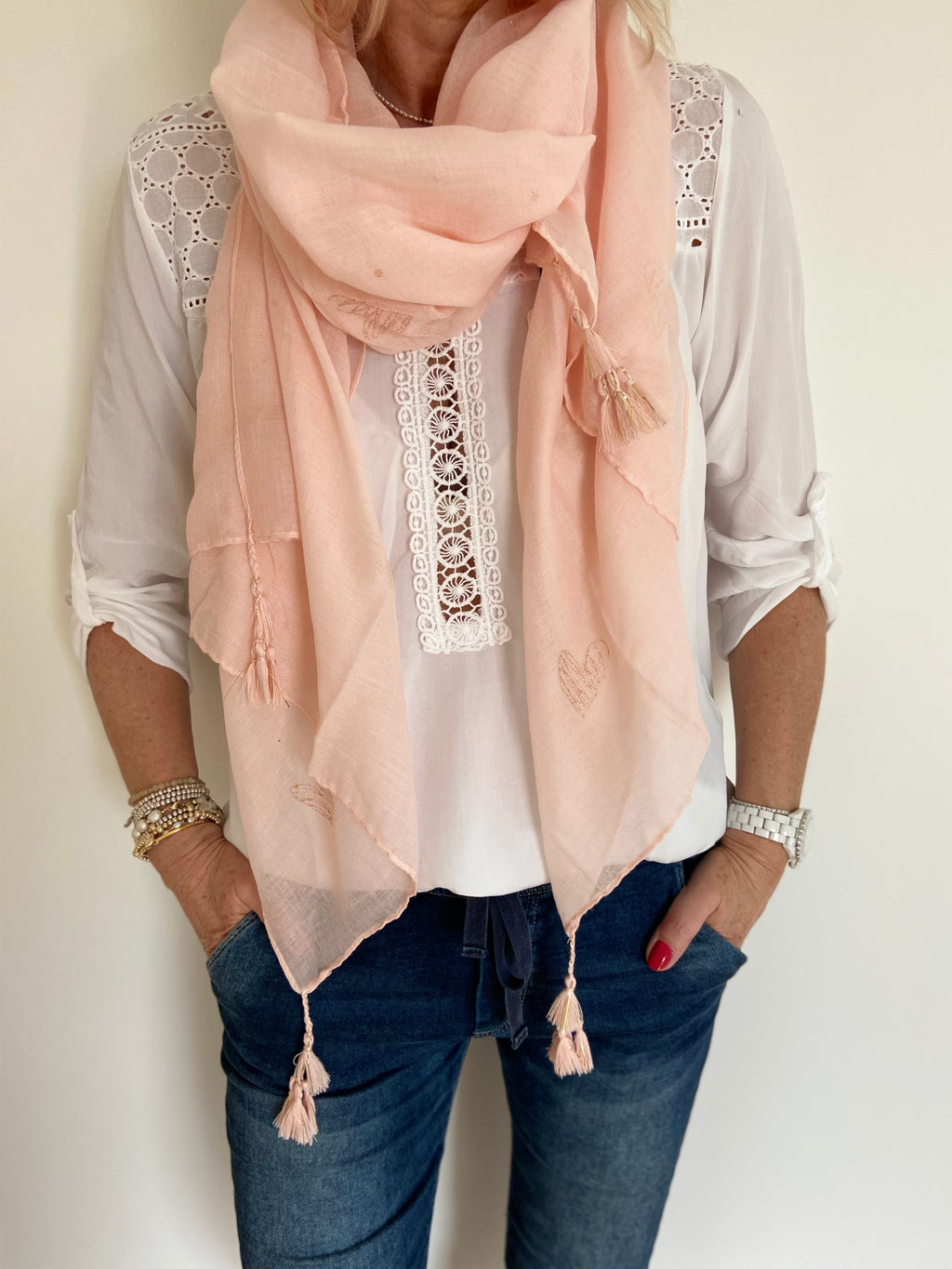 Heart Scarf in Pink and Gold