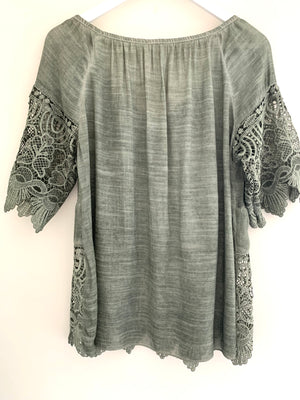 Blouse with Lace Detail in Khaki