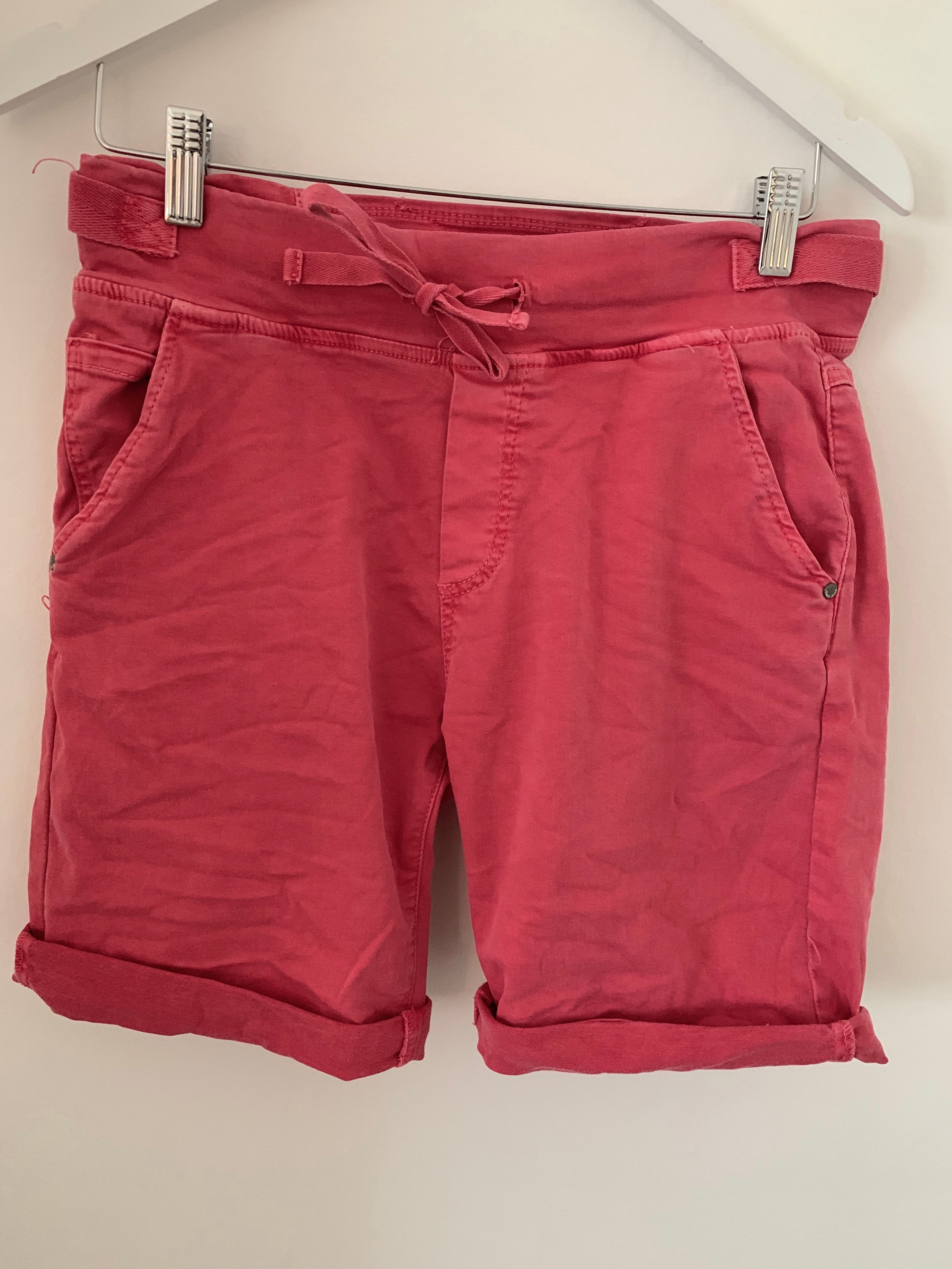Coral Red Cotton Jogger Shorts