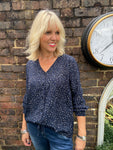 Navy Leopard Blouse