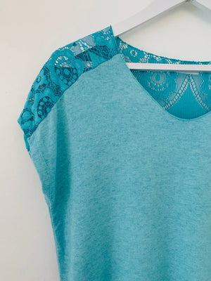Turquoise Tee with Lace