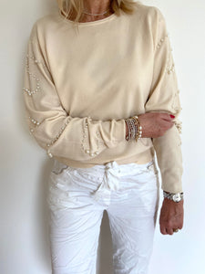 Vanilla Jumper with Studded Pearl Sleeves