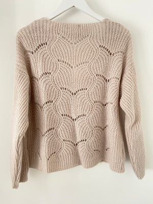 Lace Knit Cardi in Stone