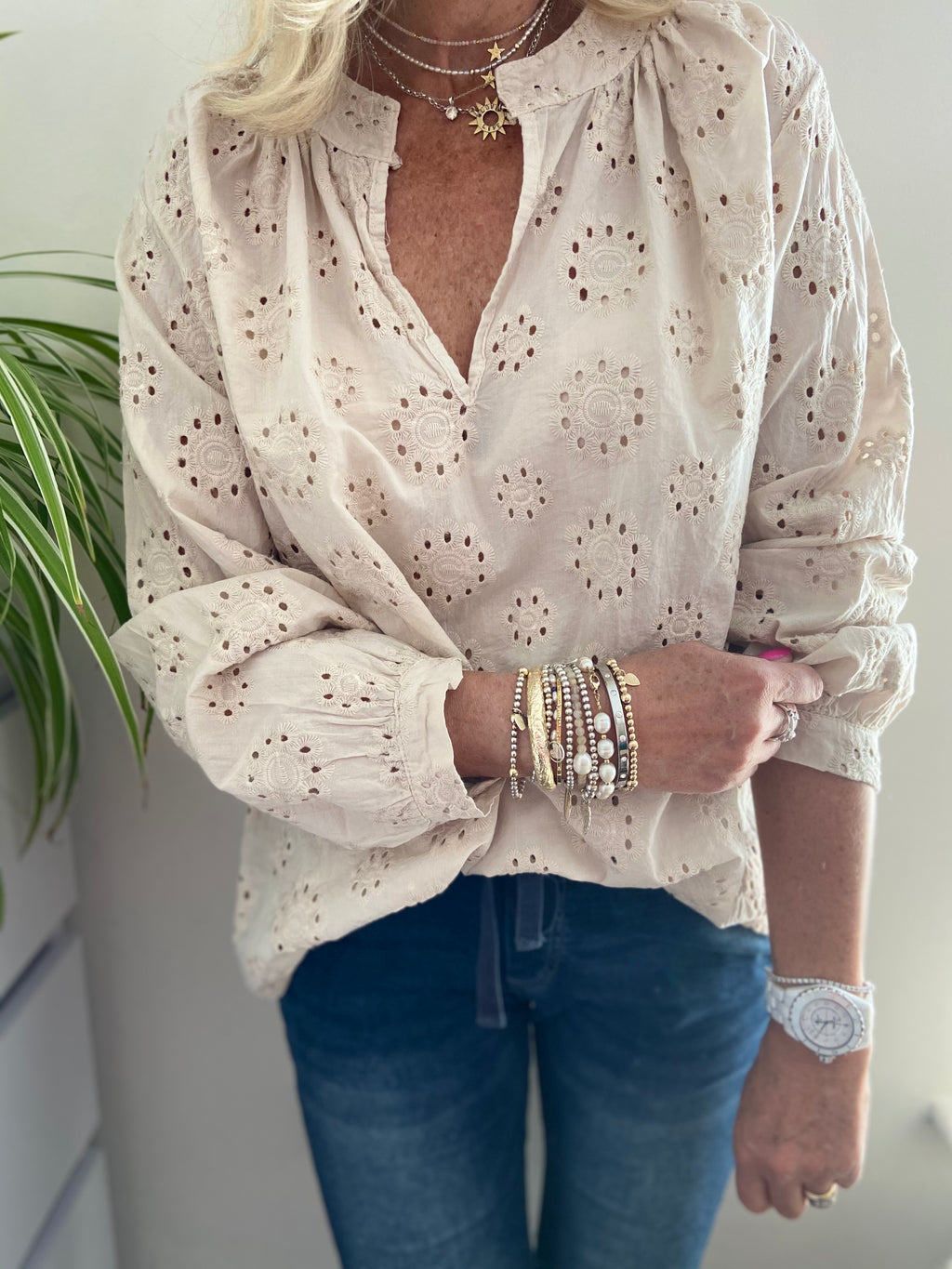 Lace Blouse in Stone