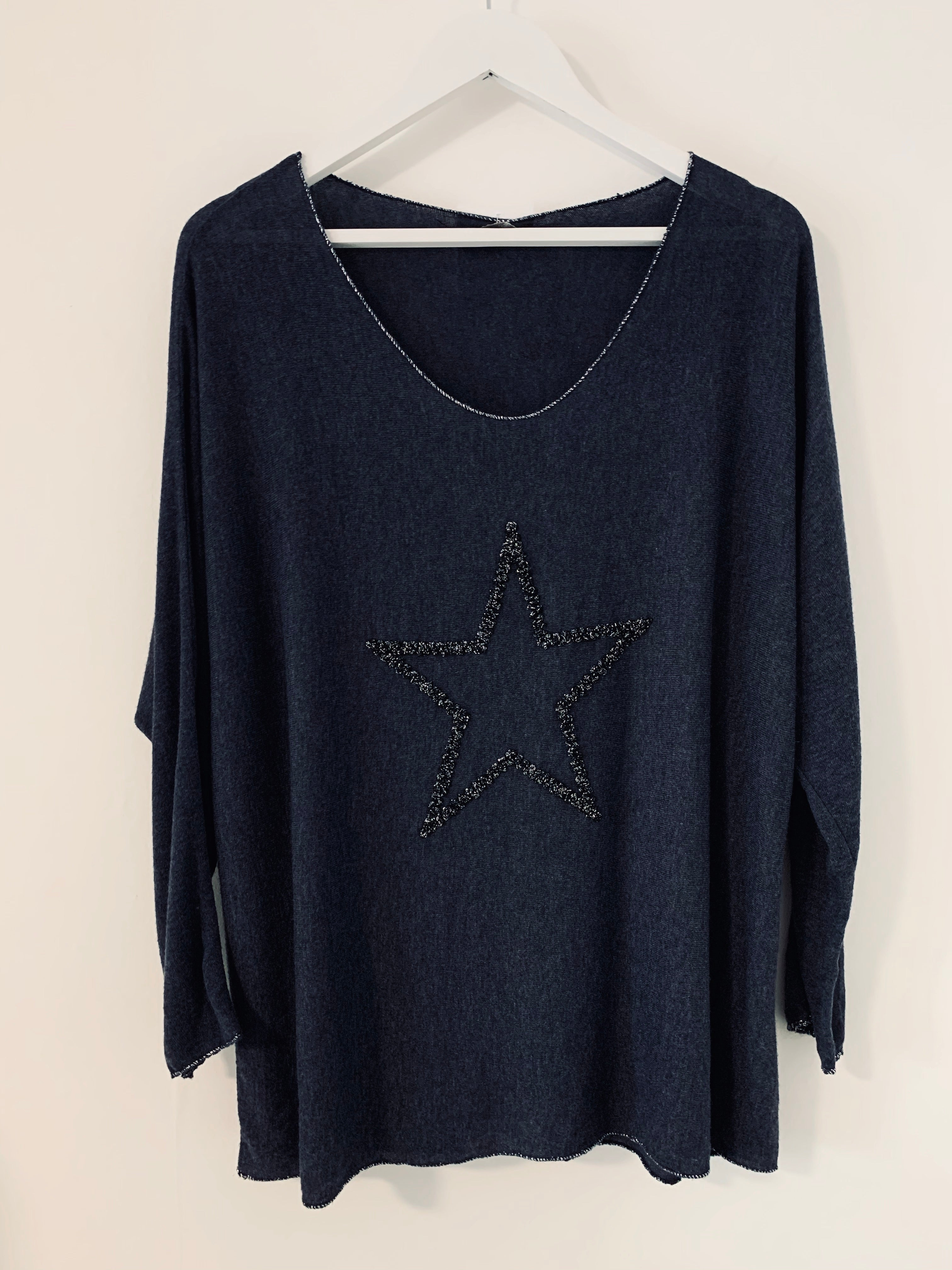 Storm Blue Jumper with Shimmery Star