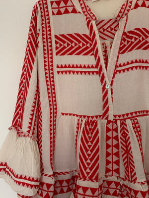 Red & White Embroidered Top