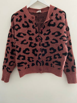 Soft Leopard Cardigan in Old Rose