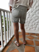 Pale Grey Cotton Jogger Shorts