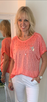 Coral Tee with Pearls & Sequins