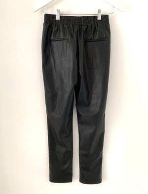 Black Leather Look Joggers