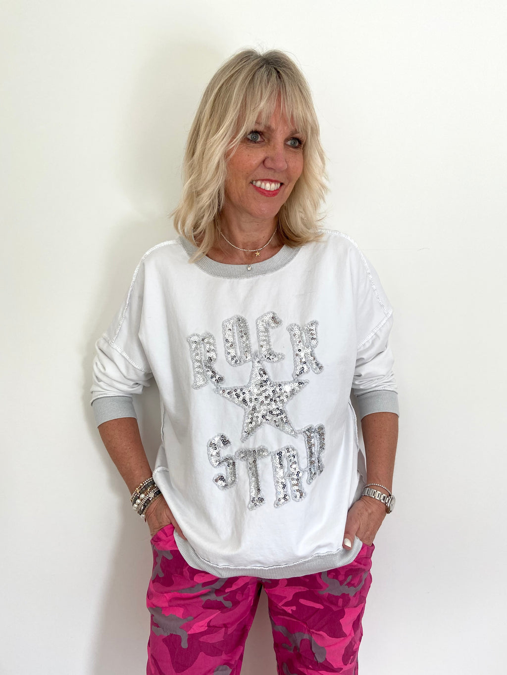 Rock Star Top in White