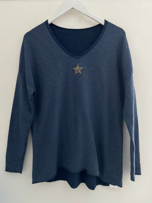 Dark Denim Tee with Glitter Star