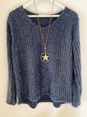 Eyelash Jumper in Smoky Blue & Star Necklace