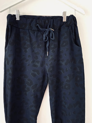 Leopard Stretch Joggers in Navy & Black