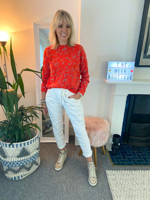 Vibrant Leopard Shimmer Jumper in Grapefruit