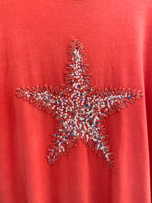 Soft Star Top in Coral