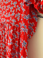 Coral Red Print Maxi Dress
