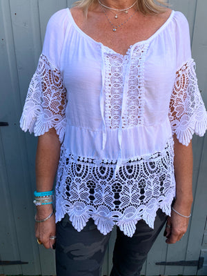 Blouse with Lace Detail in White