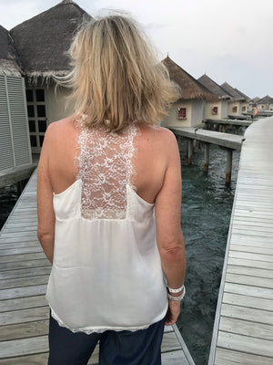 White Camisole with Lace Back