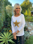 Gold Star Tee in White