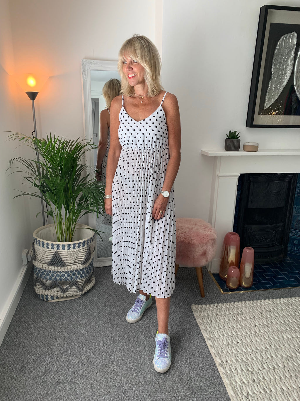 White Polkadot Pleat Dress