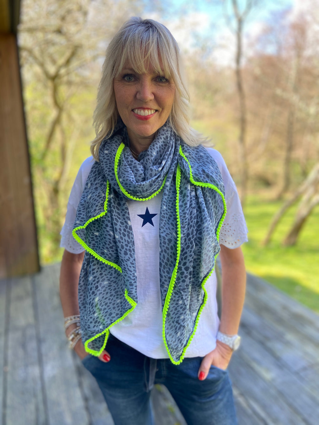 Blue Leopard Scarf with Neon Trim
