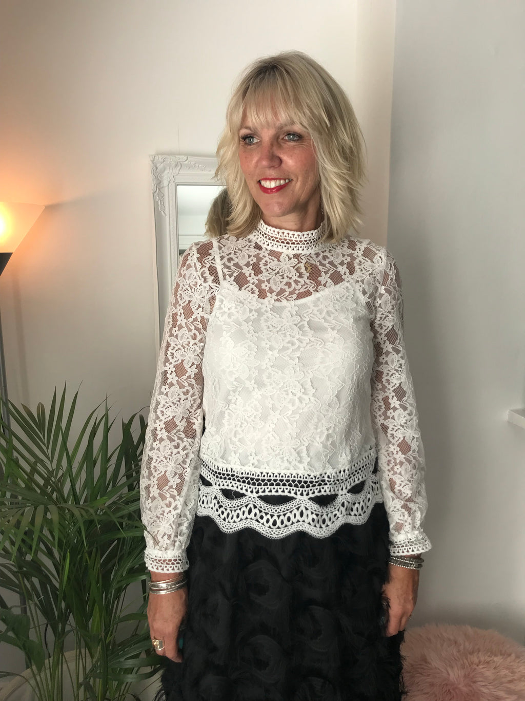 Ivory Lace Blouse with Cami