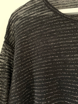 Black Semi Sheer Jumper with Silver Thread