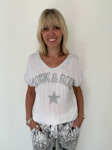 White Silky Rock & Roll Tee