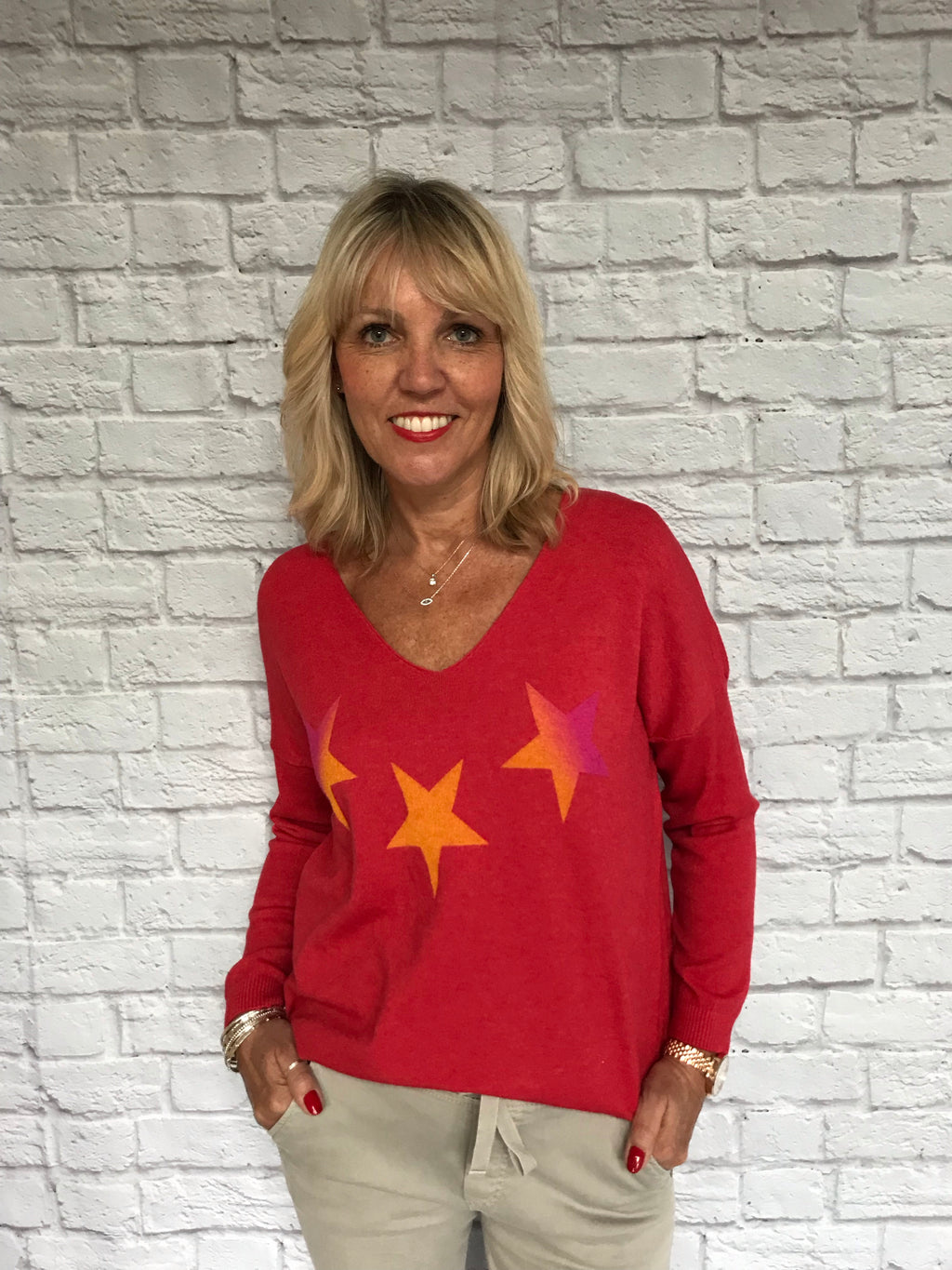 Coral Red Sweater with Stars