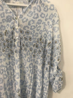 Pale Blue Micro Pleated Animal Print Top