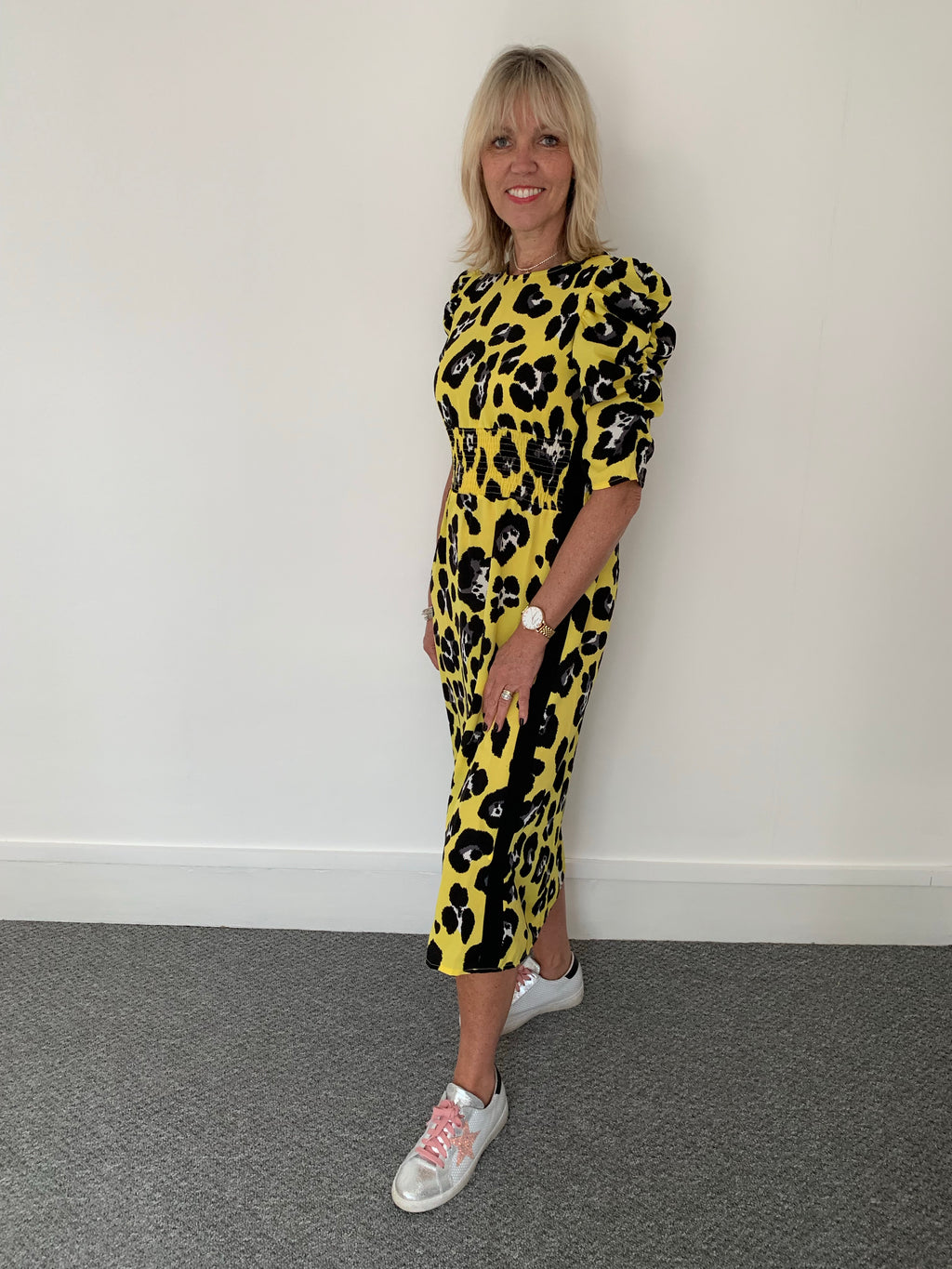 Yellow Leopard Dress with Black Side Stripe