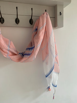 Pink and Blue Scarf with Tassels