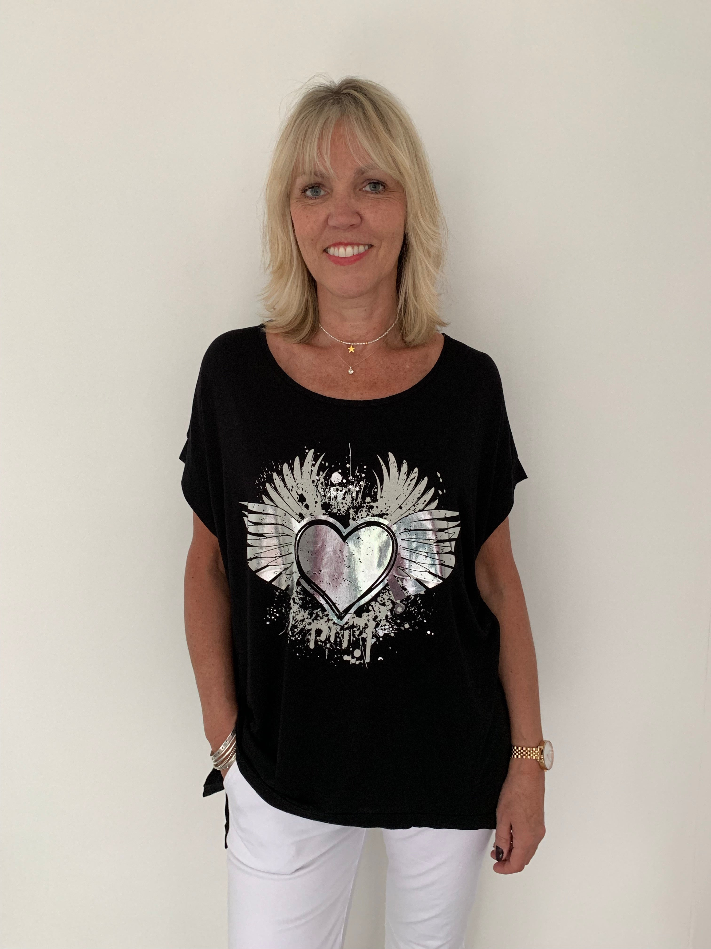 Black Tee with Silver Wings