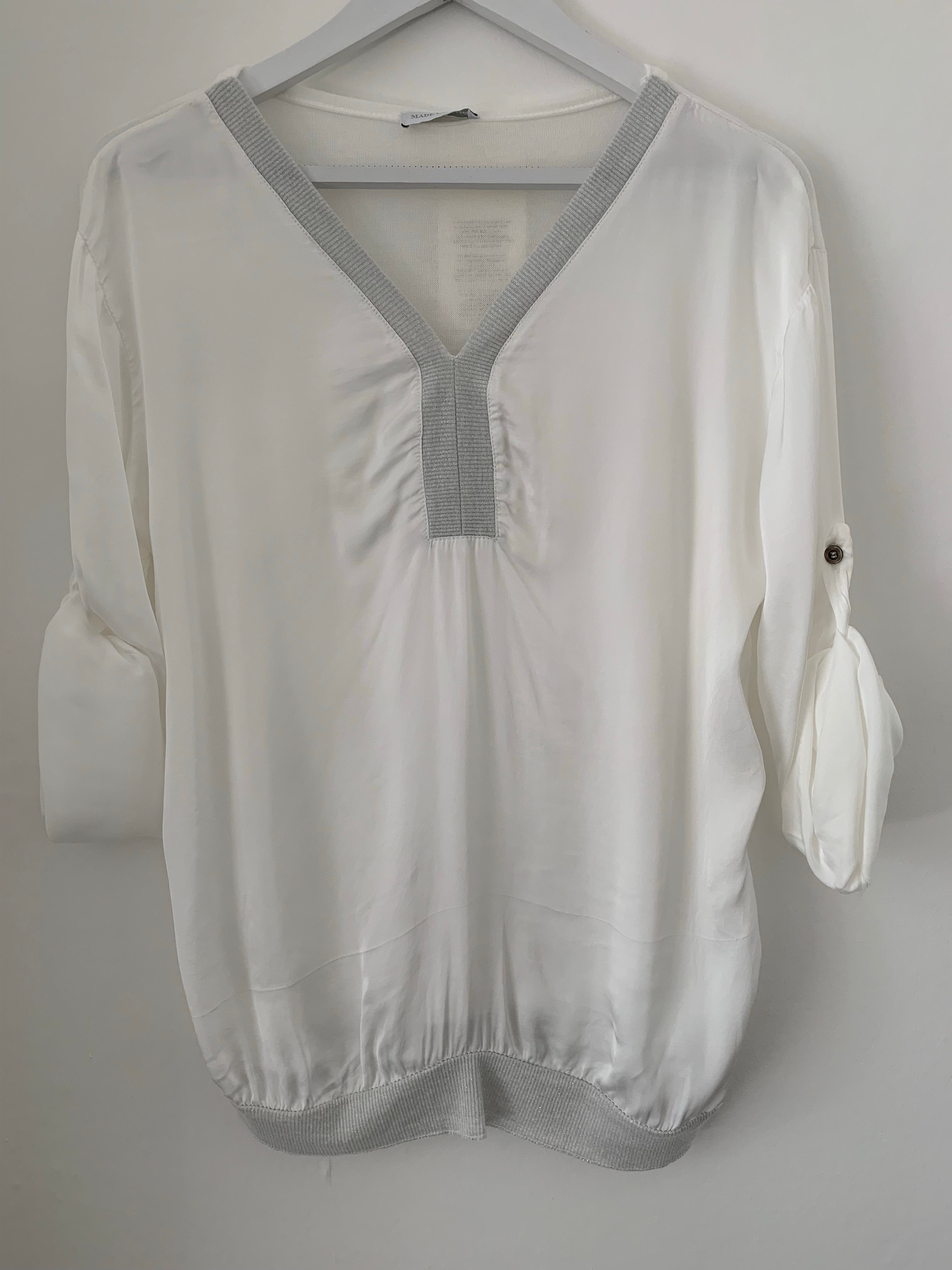 White Silky Top with Roll up Sleeves