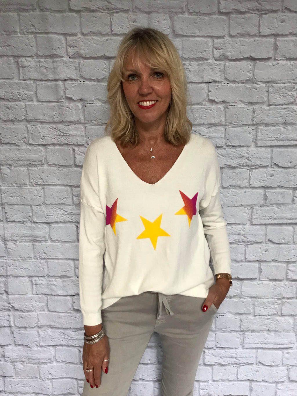 White Sweater with Stars