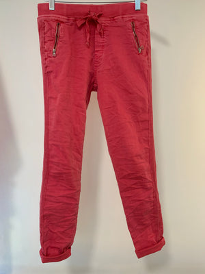 Coral Red Joggers with Zips