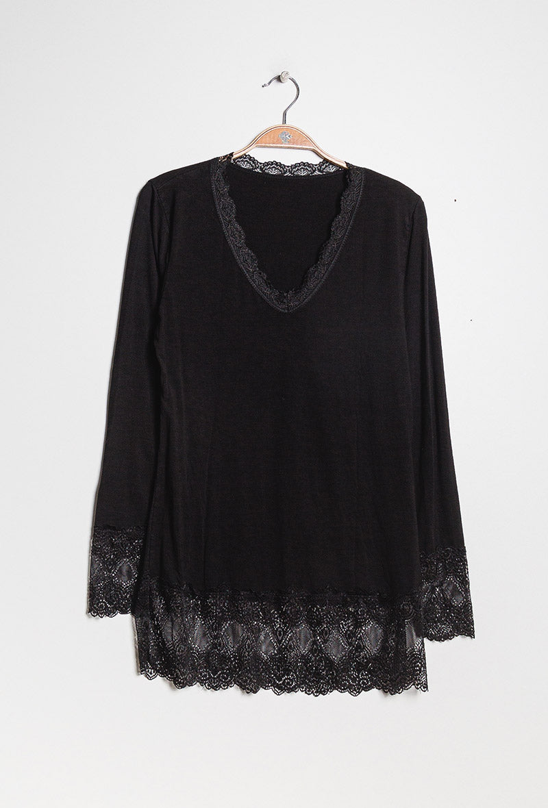 Basic Long Sleeve Tee with Lace Trim in Black