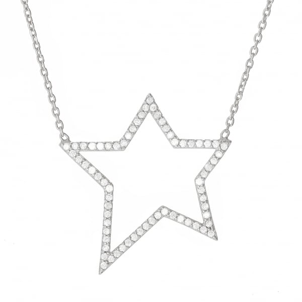 Sterling Silver Open Star Necklace by Lucky Eyes London