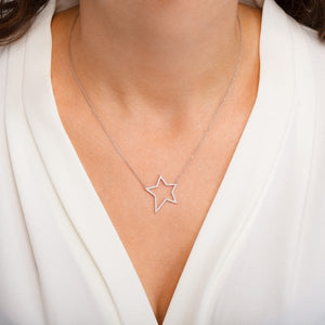 Gold Open Star Necklace by Lucky Eyes London