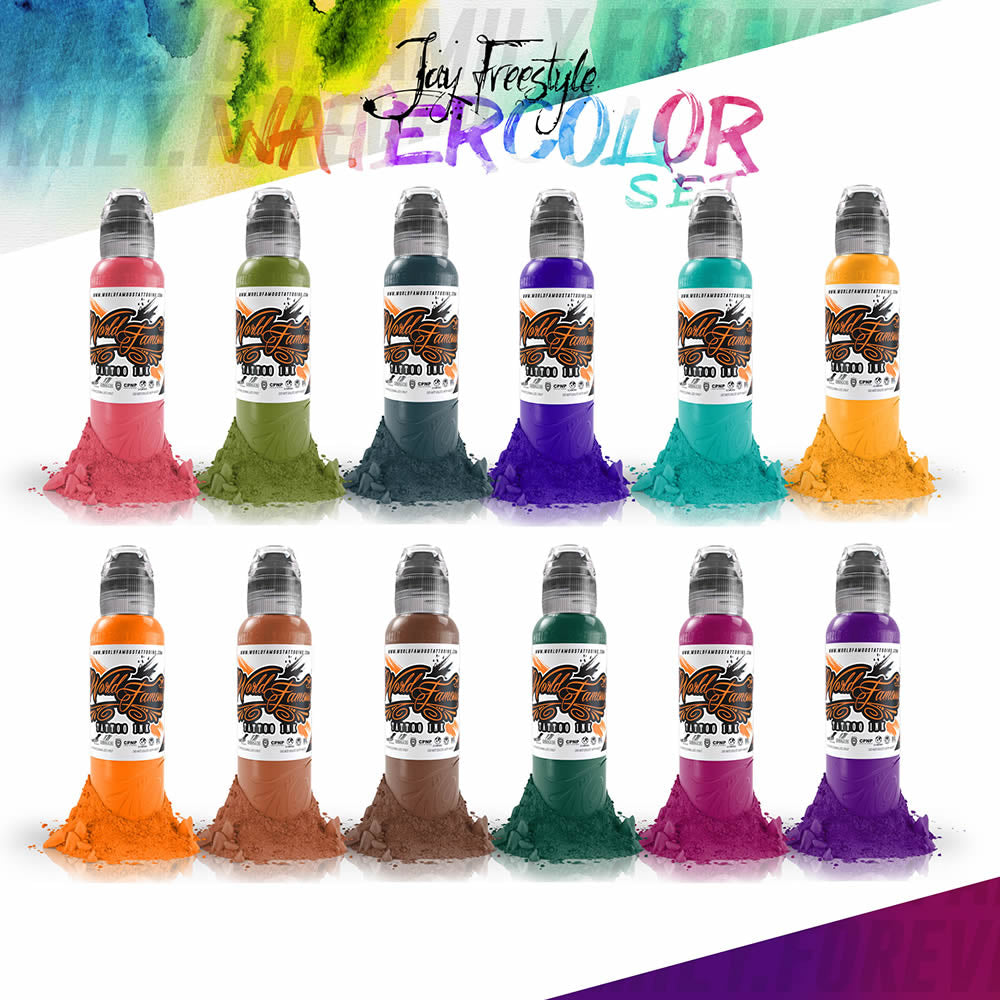 World Famous Ink 12 Color Jay Freestyle Water Colors Set 1oz
