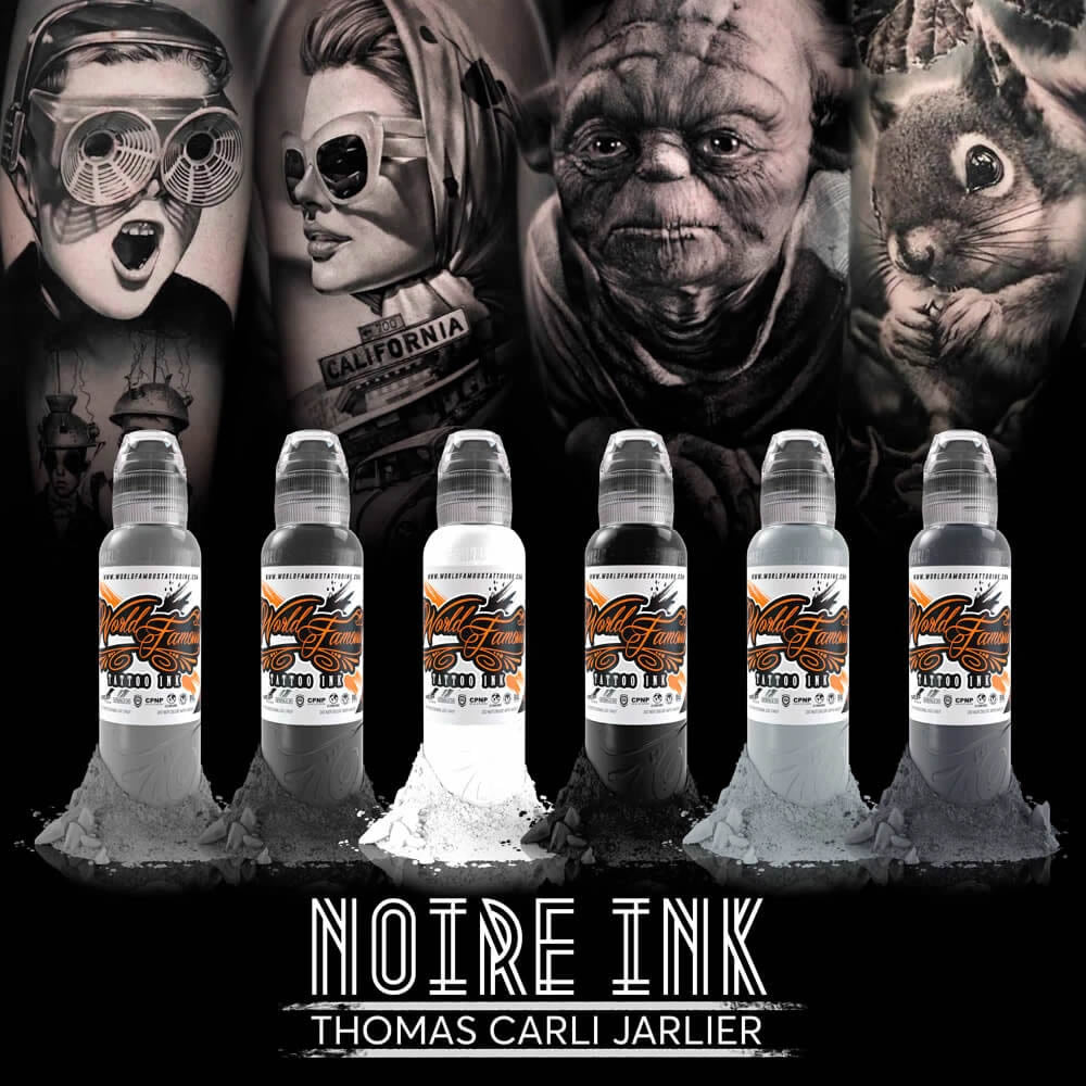World Famous Ink 6 Bottles Thomas Carli Jarlier Noire Ink Set 1oz