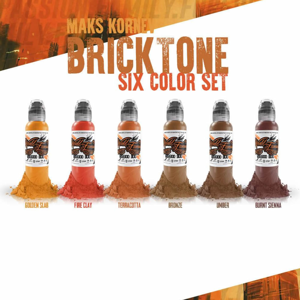 World Famous Ink 6 Bottle Maks Kornev Bricktone Set 1oz