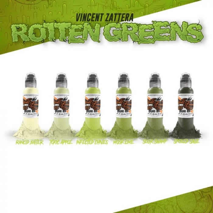 World Famous Ink 6 Color Vincent Zantera Rotten Greens Set