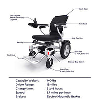 "Porto Mobility RANGER D09, UpScale Exclusive Lightweight Foldable Power Wheelchair, Aerospace Aluminum Crafted Design, Heavy Duty, Long Range, Dual Powerful Motor Electric Wheelchair -18.9"" Seat Width"