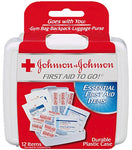 Johnson & Johnson First Aid to Go (Mini First-Aid Kit with 12 Items) (Item #008295) - 4 Cases of 48 Kits Each (Total = 192 Kits)