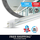T8 4ft led tube 18w 5000K clear 2500 lumens 100pcs Single Ended Power