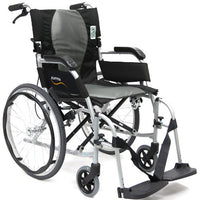 Karman Ergonomic Wheelchair Ergo Flight with Quick Release Axles in 18 inch Seat, Pearl Silver Frame