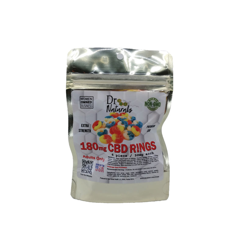 GUMMY STRAWBERRY BANANA RINGS 180MG - 6PC BAG