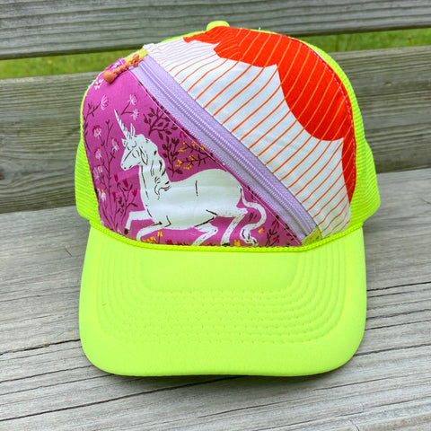 Neon Yellow Zip Trucker Hat